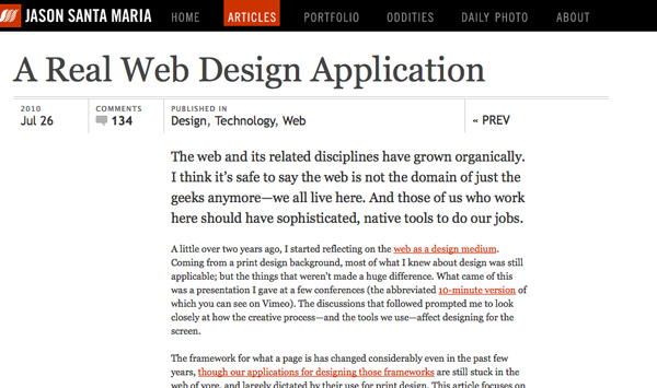 Screenshot: Jason Santa Maria - A Real Web Design Application
