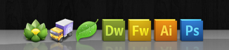 Mac OSX dock with icons of popular webdesign applications